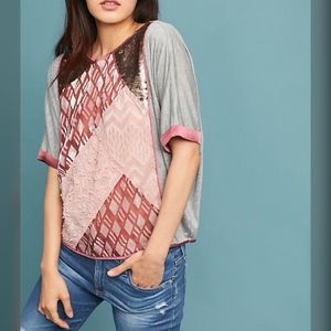 Anthropologie Velvet Patchwork Tee